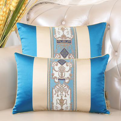 Последние европейские декоративные Чехлы для дивана, кресла, спинки, поясничная Подушка, роскошный Шелковый атласный чехол для подушки - Цвет: Синий
