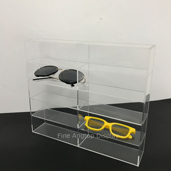Double 5 Tier Clear Acrylic Sunglasses Eyeglasses Display Stand Box Holder 5 tier desktop acrylic step display stand holder for small toys