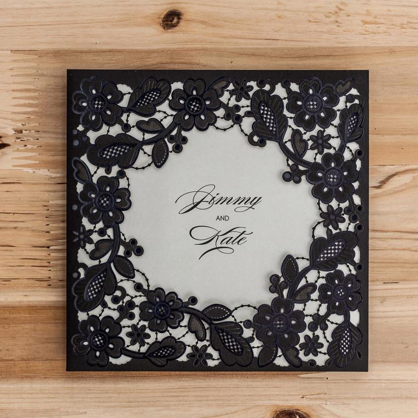 Brides Wedding Invitation Kit: Laser Cut Wedding Invitations Kits Black Flowers Party