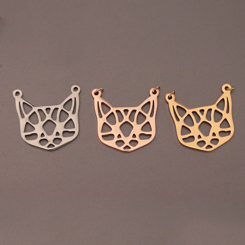 Wholesale 30pc/lot Origami Cat Ear Pendants DIY Stainless Steel Charms Pendant Jewelry Components Making Kids Black Friday