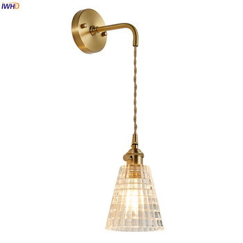 IWHD Nordic Modern Glass Copper Wall Lamp Bedroom Bathroom Mirror Stair Light Loft Retro Wall Lights For Home Lighting Wandlamp rushed luminaire double head wood wall lights bedroom lamps hallway wandlamp bed light nordic home lighting sconce lamp iy121786