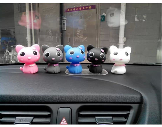 Car Interior Lovely Colorful Shaking Head Cat Accessory Furnishing Articles Decor Car Ornament