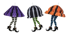 Retro Whimsical Halloween Witches with Feet Socks and Black Boots Awesome Halloween Decor Witches Legs Halloween Party Craft witches abroad