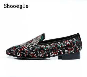 SHOOEGLE Black Suede Colorful Diamond Wedding Shoes Men Slip-on Rhinestone Loafers Fashion Casual Shoes Party Dress Shoes Man