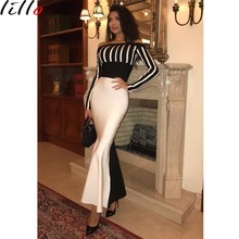 High-end party dress women temperament fishtail hot sexy striped bag hip long fashion black and white