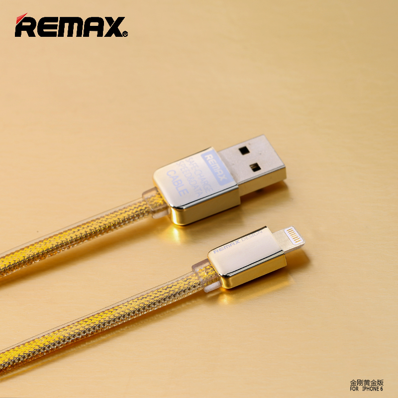 Remax Brand High End Gold Data Charging Line for Micro USB for Apple iPhone 5 5s 5c for iPhone 6 6plus