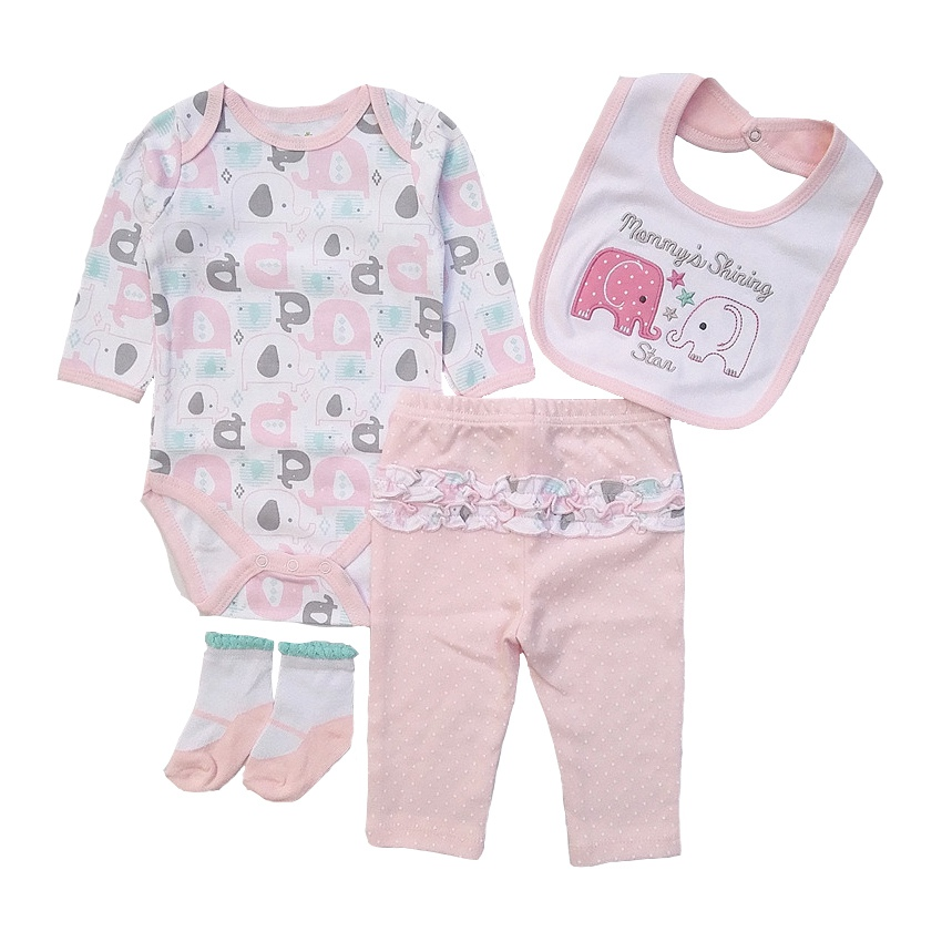 2017 hot sales newborn boy girl clothes Baby clothing sets cotton long sleeves pink cute infant clothing bib+t-shirt+pants+socks 2pcs set newborn floral baby girl clothes 2017 summer sleeveless cotton ruffles romper baby bodysuit headband outfits sunsuit