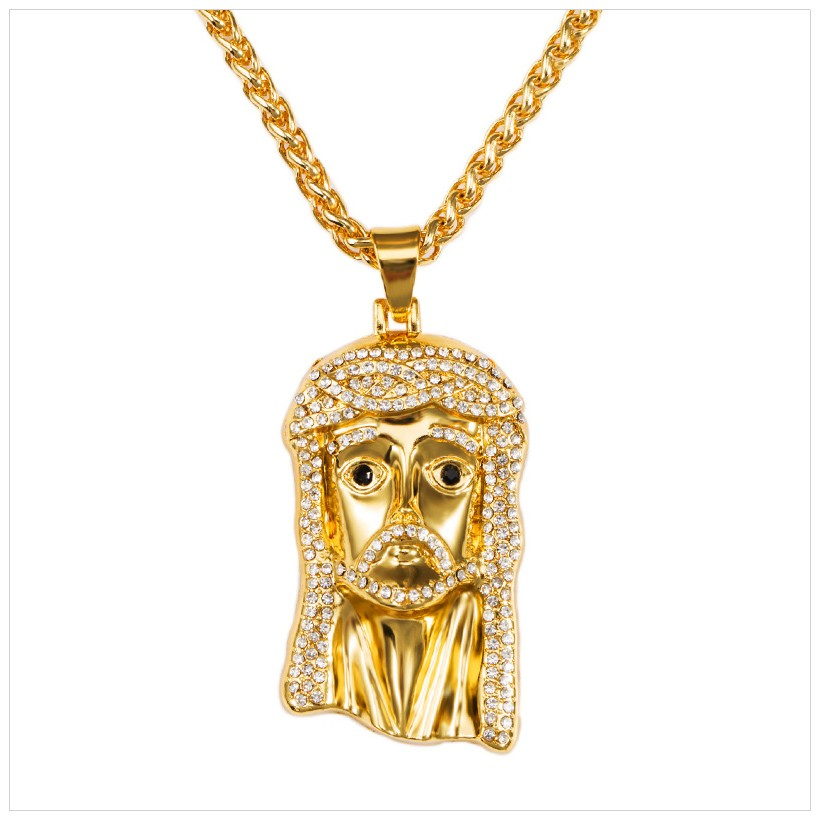 Jesus Piece Pendant Necklace NEW Golden CZ Iced Out Bling