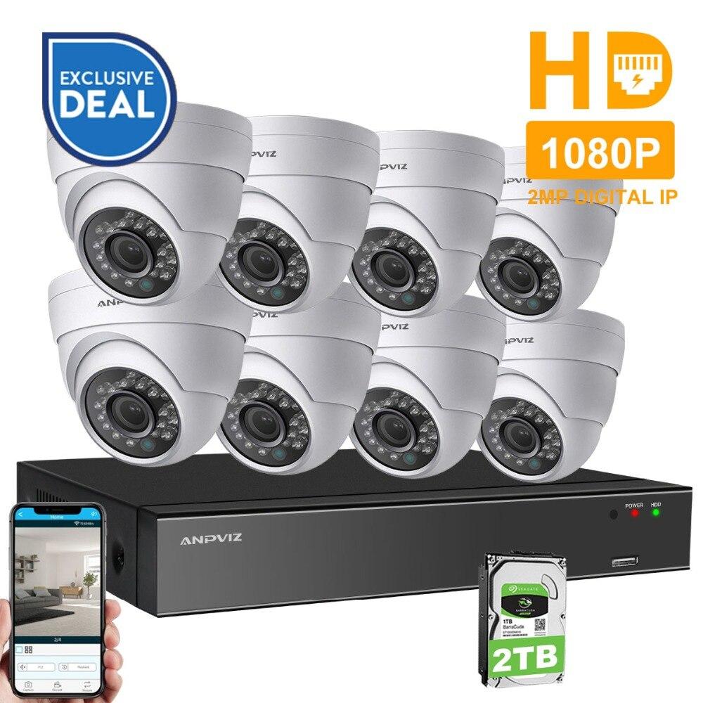 Anpviz 8CH 1080 p POE NVR Kit CCTV Système de Caméra HDMI 2MP Extérieure de Sécurité IP Caméra P2P Vidéo Surveillance Système ensemble HDD Option