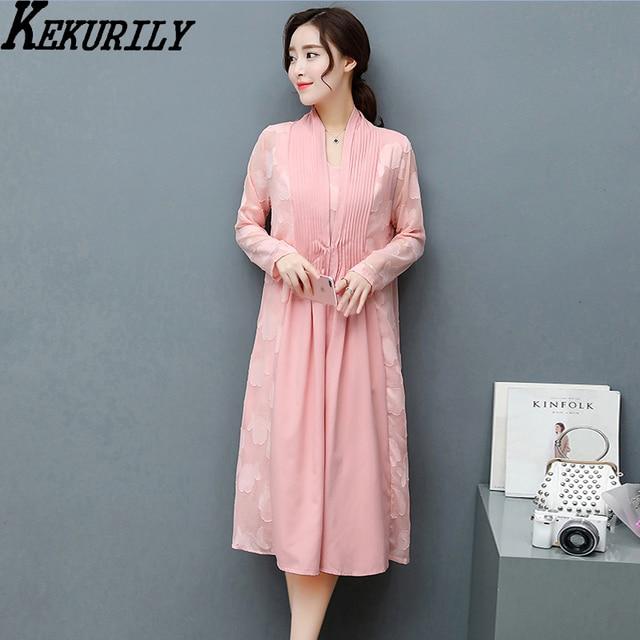 Kekurily Women Dress Suits Pink Cardigan 2 Piece Suits Elegant