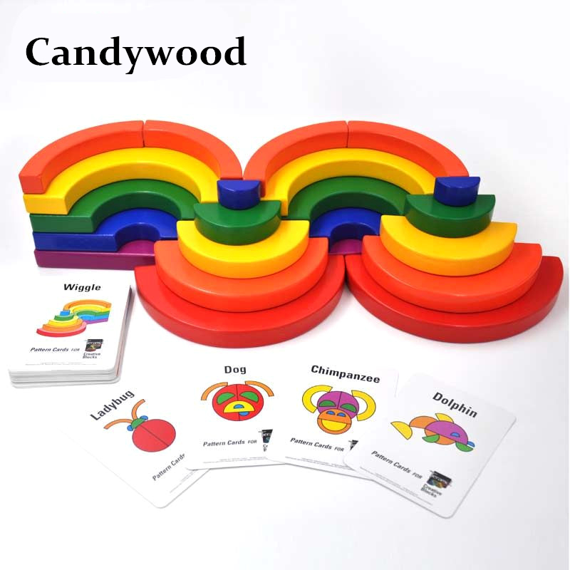 Candywood Wooden Montessori education Colorful Rainbow Blocks Geometric Assembling Blocks Large Circle Set for children toys 2017 new arrival baby montessori toys wooden rainbow balance blocks toy colorful beads seesaw early education childrens day gift