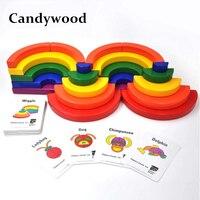 Candywood Wooden Montessori education Colorful Rainbow Blocks Geometric Assembling Blocks Large Circle Set for children toys