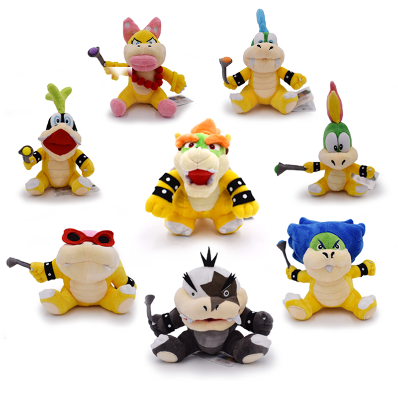 Free Shipping 8Pcs/Set Super Mario Koopalings Plush Toys Wendy LARRY IGGY Ludwig Roy Morton Lemmy Bowser O.Koopa Plush Toys