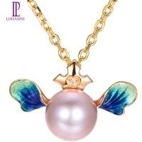 Lohaspie Z Litego 18 k Yellow Gold 8mm Naturalne Słodkowodne Pearl & diament & Niebieski Emalia Anioł Skrzydło Wisiorek Dla kobiet Pearl biżuteria