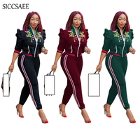 Floral Print Embroidery Two Piece Set Turtleneck Cardigan Striped Side Pants Sweat Suit Casual Outfits Ruffles Tracksuit Women