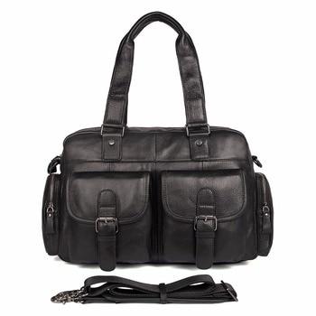 JMD 100% Cow Leather Men's Handbag Classic Solid Black Laptop Bag Hot Selling Shoulder Bag Fits Book 7381A