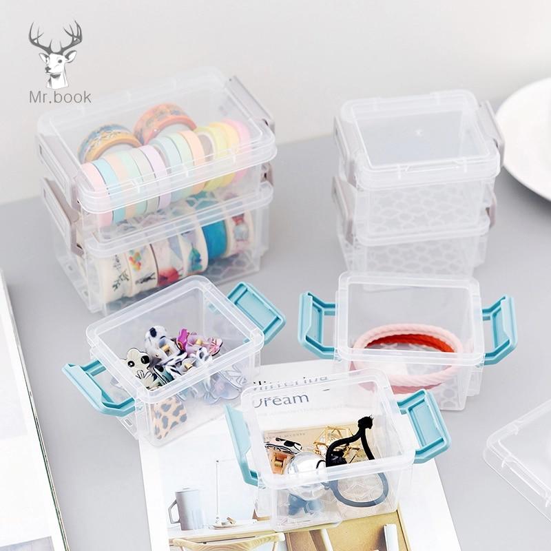 Transparent 3 Layers Storage Box Practical Plastic Case For Tape Clip Stationery Sticker Organizer Office Desk Tape Storage Box