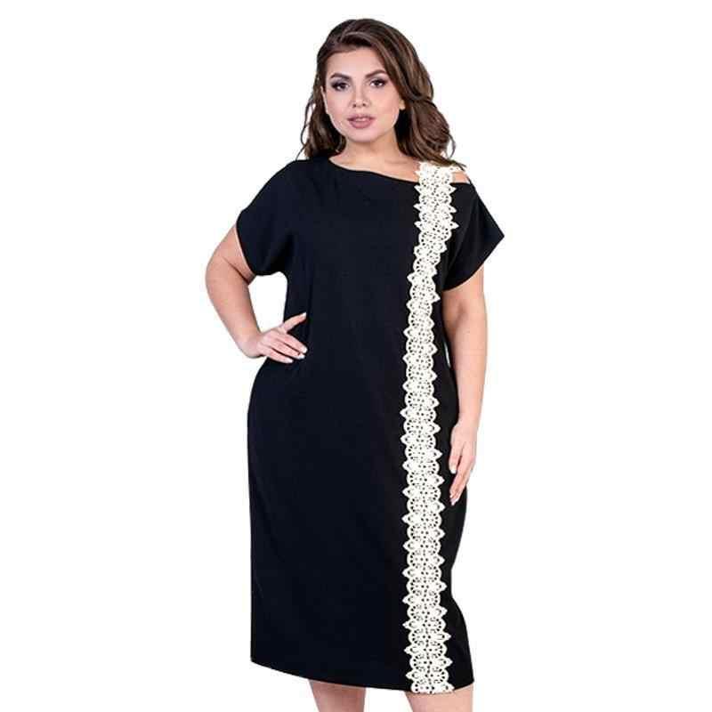 Женское платье большого размера, летнее платье с коротким рукавом, кружевное элегантное платье пэчворк, офисное платье, черное миди-платье, халат Femme 5XL 6XL