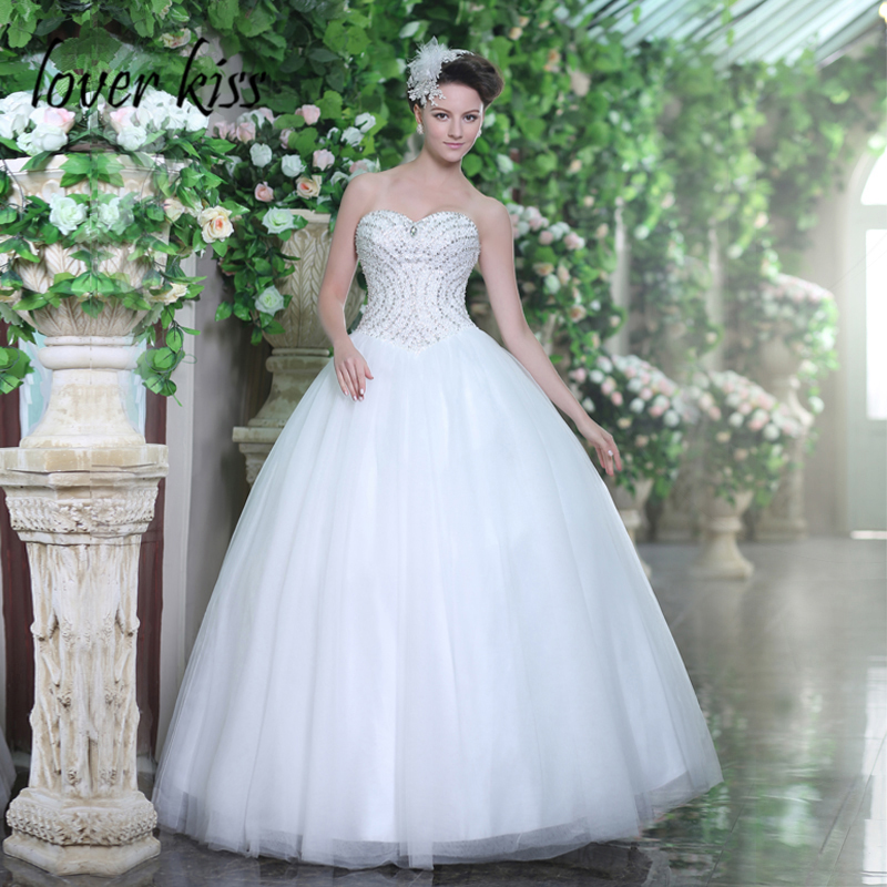 Us 20699 Lover Kiss Vestidos Novia 2018 Sparkly Strapless Wedding Dress Beaded Sequined Tulle Corset Bridal Gown In Wedding Dresses From Weddings