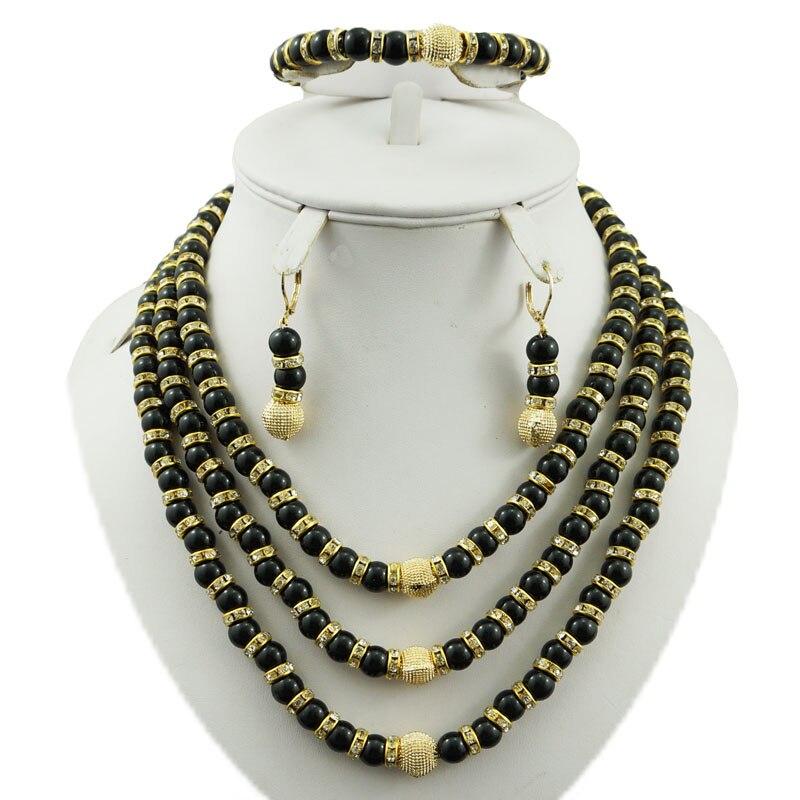 Ожерелье с серебрянном покрытии наборы Африканский большой набор украшений белый цвет набор бижутерии с розой женское ожерелье белые африканские бусы комплект ювелирных изделий - Окраска металла: black