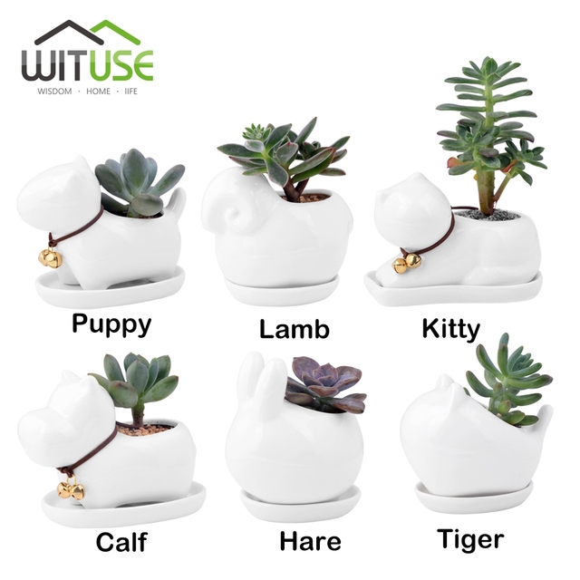 Wituse Kawaii Ceramic Animals Flower Pot Mini White Planter Bonsai Pots Garden Plants Succulent Flowerpots With Ed Tray