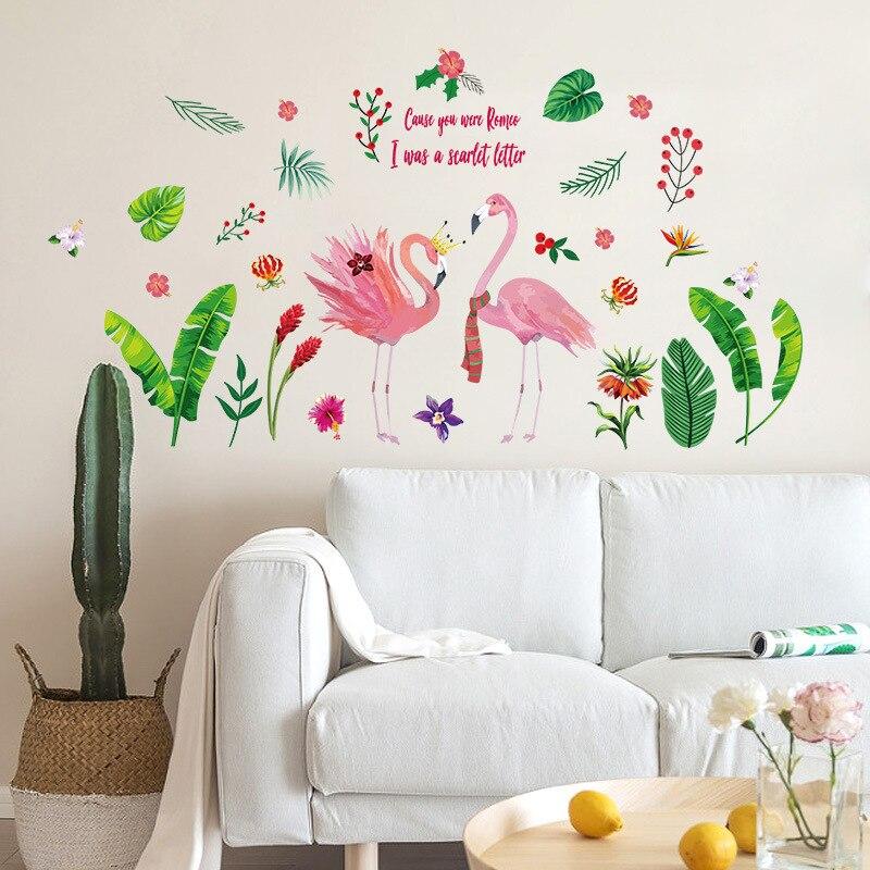 Творческий любовь и счастье семьи Декор стены стикеры пары Фламинго зеленые листья садовых растений Подростковая Спальня наклейки