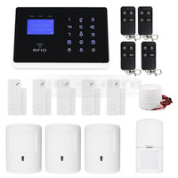 DIYSECUR Wireless & Wired Defense Zones APP Controlled GSM Autodial Home Security Alarm System + Pet Friendly PIR + RFID