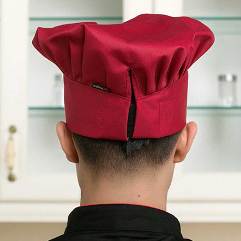 Sanxiaxin 요리 조정 가능한 요리사 모자 남자 주방 베이커 탄성 모자 캐터링 요리 모자 스트라이프 일반 모자 작업 모자 요리사 모자