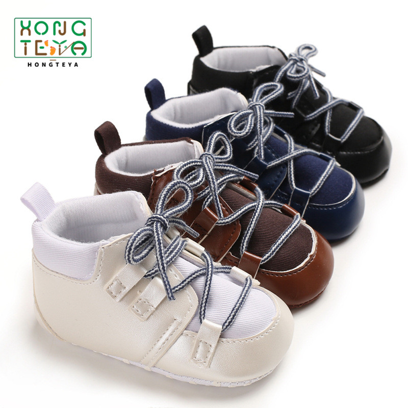 Pu Leather Baby Boy Sneaker Boots Soft Sole Lace Up Baby Moccasins Newborn Cotton Crib Casual Shoes Warm Winter Boots kids gift