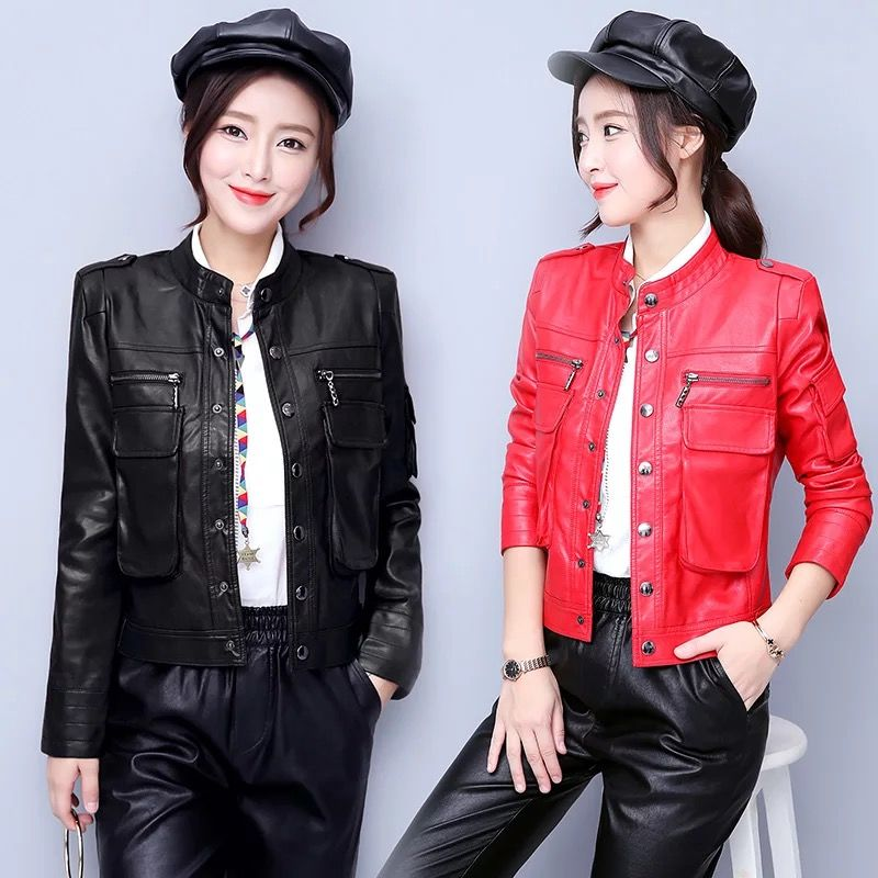 Leather   women's jacket 2019 autumn new short fashion Slim female   leather   clothing Leisure plus size outerwear women   leather   coat