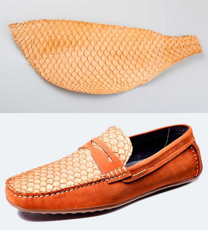 1 Uds. De piel de pez carpa colorida pieza de cuero Multi Color DIY cartera bolso Correa zapatos accesorios 25x10cm