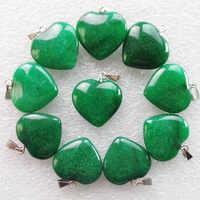 Livraison gratuite 10 pièces 22x20x6mm belle perle verte Jades coeur pendentif (Min. commande 10 $ mix)
