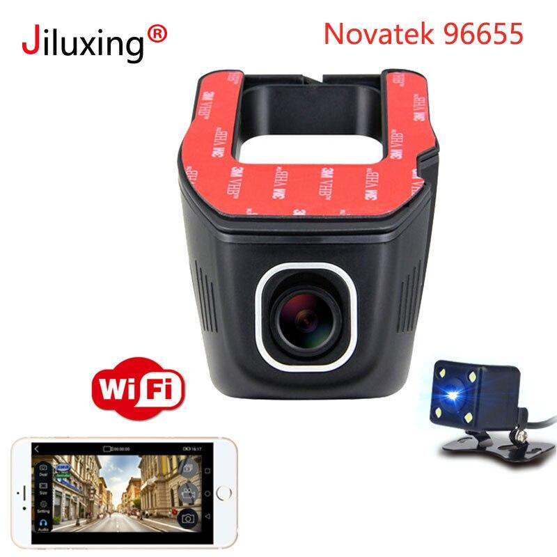 Novatek 96655 Voiture DVR WIFI 1080 p Double lentille Voiture mini Caméra rétroviseur nuit vision Registrator Dashcam Enregistreur Caméscope