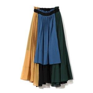 Image 5 - [EAM] 2020 новая весенняя юбка с высокой эластичной талией зеленого цвета, плиссированная Асимметричная юбка Haf body, женская мода, универсальная JG208
