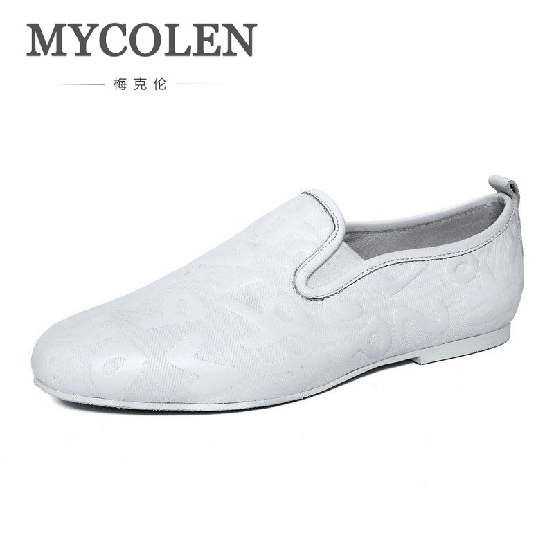 MYCOLEN Casual Men Shoes Slip On Genuine Leather Men Loafers Luxury Brand Male Shoes Soft Leather Mens Flats Moccasins farvarwo genuine leather alligator crocodile shoes luxury men brand new fashion driving shoes men s casual flats slip on loafers