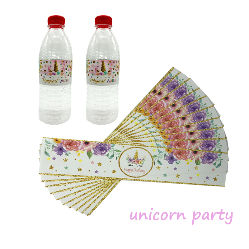 Festive & Party Supplies Obliging Omilut 24pcs Unicorn Birthday Party Decoration Cartoon Unicorn Bottle Lables Stickers Childrens Party For Kid Baby Shower Dec Finely Processed