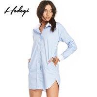 Hodoyi Denim Sexy Casual Single Breasted Shirt Light Blue Long Sleeve Office Lady Shirt Solid Boyfriend