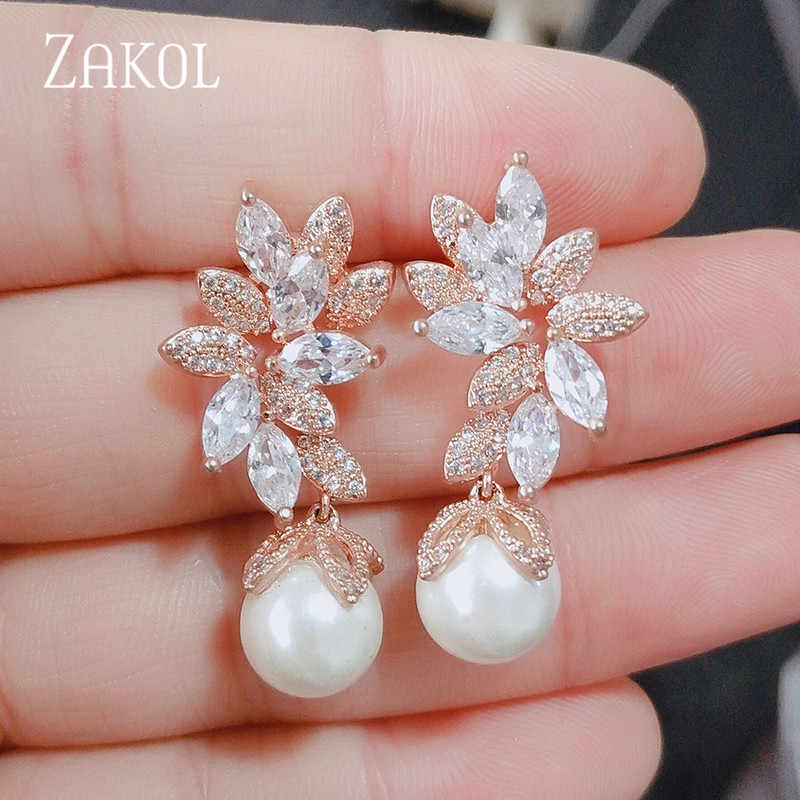 ZAKOL Fashion Design Elegant Female Jewelry White Gold CZ Drop Earings With Imitation Pearls For Gift FSEP568