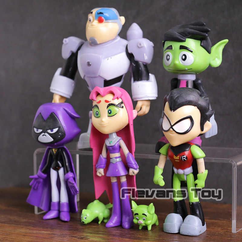 ... Teen Titans Go Robin Cyborg Beast Boy Starfire Raven Silkie PVC Action  Figures Kids Toys Gifts ...