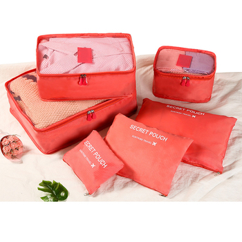 6pcs  Wardrobe Suitcase Pouch Travel Organizer Bag Case Shoes Packing Cube Bag Travel Storage Bag Set For Clothes Tidy Organizer