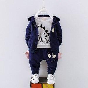 Image 2 - 男の子春の秋の服セット子供服綿カジュアルコート + トップス + パンツ 3 本ベベ男の子幼児スーツ