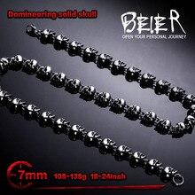 Beier dominador 7mm de largura aço inoxidável punk rock crânio corrente personalizado longo colar alta qualidade bn1031