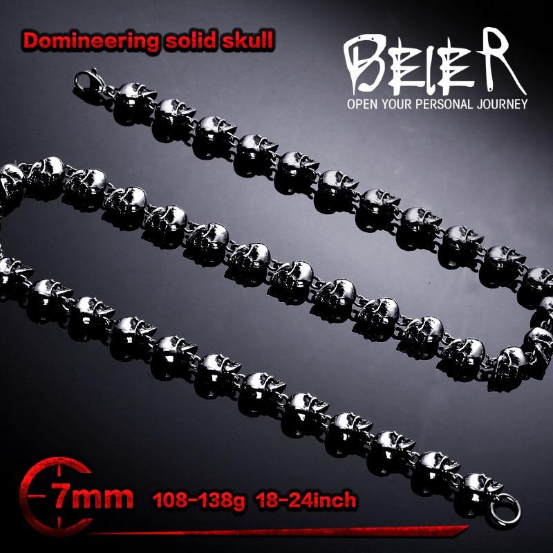 Dominateur 7mm Largeur En Acier Inoxydable Punk Crâne Collier De Chaîne De Haute Qualité BN1031