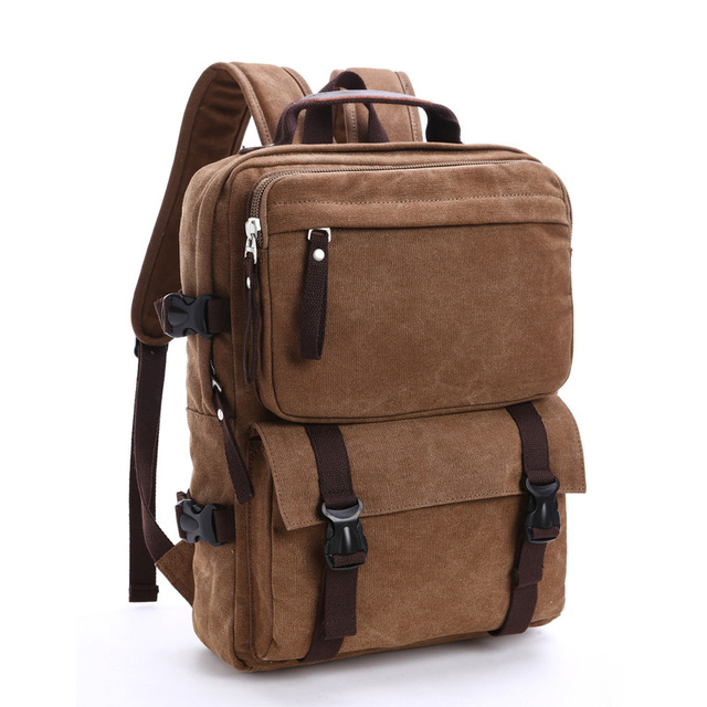 Casual vintage big brown canvas backpack with pockets man large capacity  travel backpacks for laptop men b5e6ffcd61a65