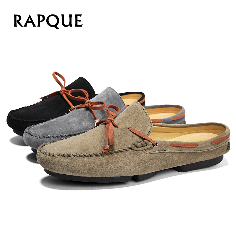 Men Shoes Loafers Half Leather Summer Sneakers Casual Hand Made Mens Light Flats Clogs Walking Driving Leisure Bowknot RAPQUE
