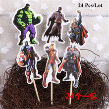 superhero birthday avengers cake topper children supplies flags baby kids party decoration cupcake toppers