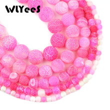 WLYeeS Pink Weathered Natural carnelian beads Stone 6 -12mm Round Loose Bead for Jewelry Bracelet Making DIY fashion Accessories
