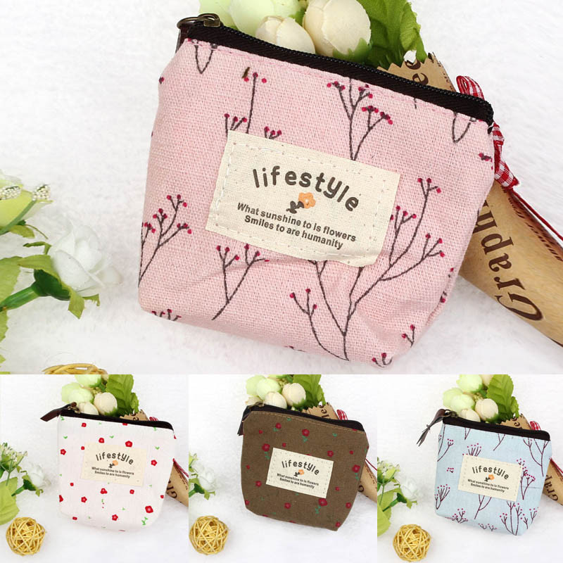 Womens Handbags Girl love Pastoral Floral canvas Small Purse Zip Wallet Lady Coin Case Bag Handbag Key Card Holder Clutch Bag