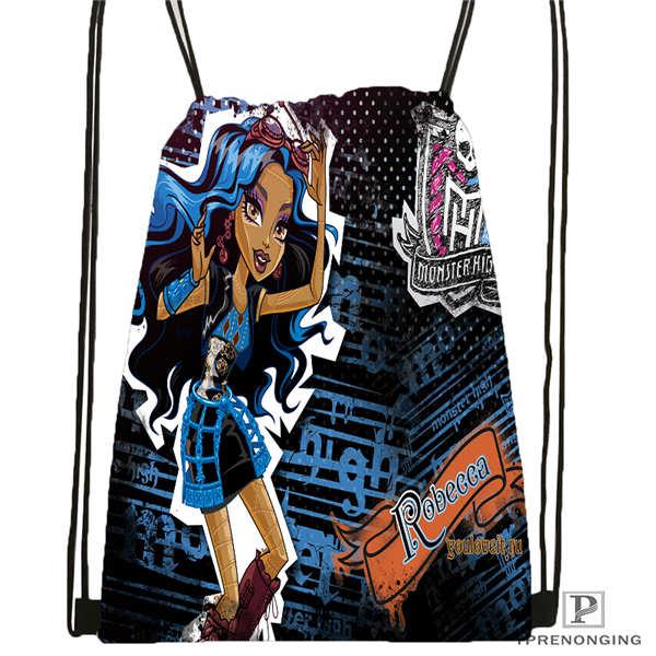 Пользовательские youloveit_ru_monster_high Drawstring сумка-рюкзак милый рюкзак дети сумка(черный назад) 31x40 см#180611-01-42 - Цвет: Drawstring Backpack