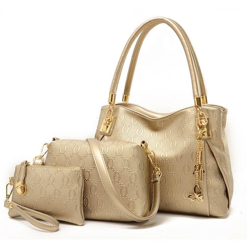 f415d3f2853 US $20.25 53% OFF|New women handbags leather handbag women messenger bags  ladies brand designs bag bags Handbag+Messenger Bag+Purse 3 Sets LH37-in ...